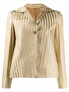 Romeo Gigli Pre-Owned 1990's striped metallic jacket - NEUTRALS