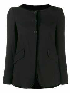 Romeo Gigli Pre-Owned 1990's contrast piping collarless jacket - Black