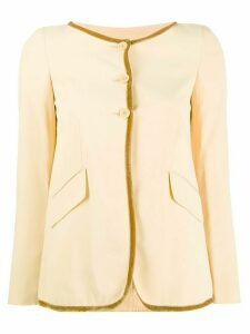 Romeo Gigli Pre-Owned 1990's contrast trimming collarless jacket -