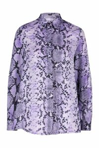 Womens Woven Snake Print Shirt - purple - 8, Purple