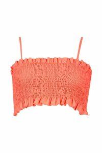 Womens Shirred Ruffle Hem Top - orange - 14, Orange