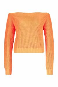 Womens Slash Neck Crop Fisherman Jumper - orange - L, Orange