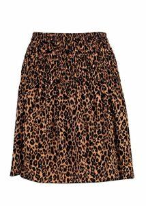 Womens Leopard Print Shirred Bardot Top - brown - 10, Brown