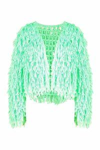 Womens Shaggy Knit Cardigan - green - M, Green