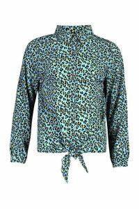 Womens Woven Leopard Print Tie Front Shirt - blue - L, Blue
