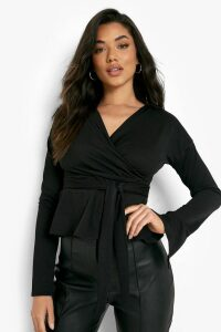 Womens Crepe Split Sleeve Ruffle Shoulder Top - black - 14, Black