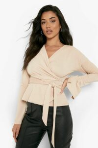Womens Crepe Split Sleeve Ruffle Shoulder Top - Beige - 6, Beige