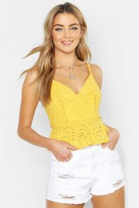 Womens Broderie Anglaise Peplum Top - yellow - 10, Yellow