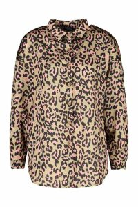 Womens Satin Print Oversized Shirt - brown - 8, Brown