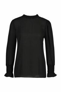 Womens Sheered High Neck & Cuff Blouse - Black - 14, Black