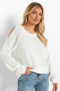 Womens Cold Shoulder Moss Stitch Jumper - white - L, White