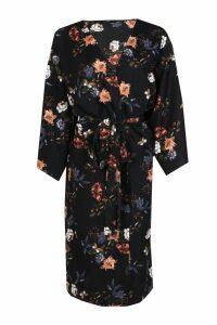 Womens Oriental Tie Waist Kimono - Black - S, Black