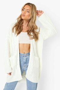 Womens Slouchy Cable Knit Cardigan - white - M/L, White