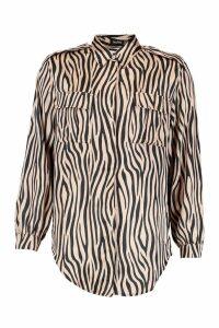 Womens Utility Satin Zebra Print Shirt - beige - 8, Beige