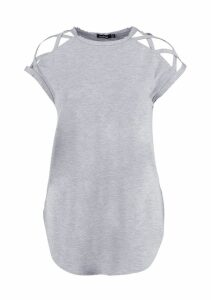 Womens Basic Strappy Shoulder Detail T-Shirt - Grey - 12, Grey