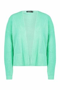 Womens Oversized Rib Crop Cardigan - green - M/L, Green