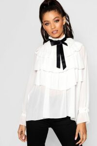 Womens Ruffle Front Full Sleeve Blouse - white - 14, White
