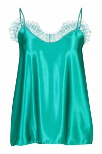 Womens Lace Trim Side Split Cami - green - 8, Green