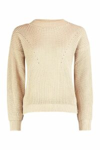 Womens Open Knit roll/polo neck Jumper - beige - S, Beige