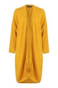 Womens Cocoon Oversized Rib Knit Cardigan - yellow - S/M, Yellow