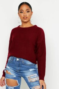 Womens Boxy Scoop Neck Jumper - red - XS, Red