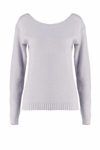 Womens Round Neck Moss Stitch Jumper - grey - M, Grey
