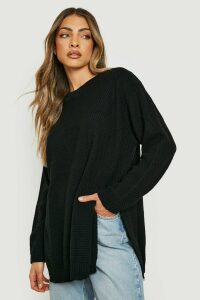 Womens Side Split Moss Stitch Tunic Jumper - black - L, Black
