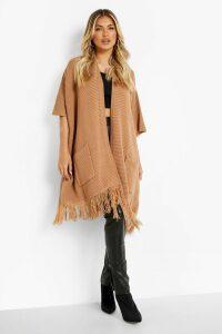 Womens Tassel Hem Cape Cardigan - beige - One Size, Beige