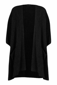 Womens Pocket Cape Cardigan - Black - One Size, Black