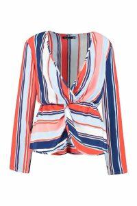 Womens Stripe Plunge Front Twist Blouse - multi - 10, Multi