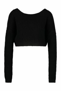 Womens V-Back Crop Jumper - black - M, Black