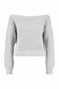 Womens Slash Neck Crop Fisherman Jumper - grey - L, Grey