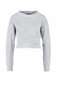 Womens Crop Fisherman Jumper - grey - XL, Grey