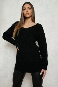 Womens Oversized V Neck Jumper - black - L, Black