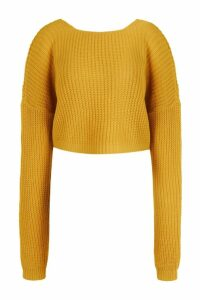 Womens V-Back Crop Jumper - Yellow - Xl, Yellow
