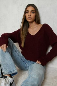 Womens Oversized V Neck Jumper - red - S, Red