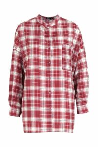 Womens Grandad Collar Oversized Check Shirt - red - 14, Red