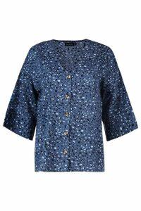 Womens Leopard Horn Button Woven Shirt - ocean blue - 6, Ocean Blue