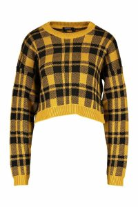 Womens Check Crop Jumper - yellow - L, Yellow