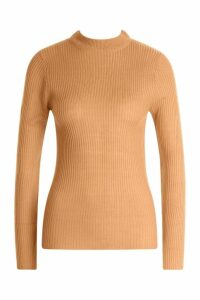 Womens Ribbed Turtleneck Jumper - beige - L, Beige