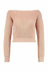 Womens Slash Neck Crop Fisherman Jumper - beige - XL, Beige