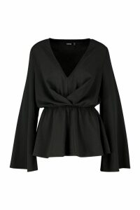 Womens Ruffle Long Sleeve Peplum Blouse - black - 6, Black