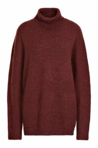 Womens Oversized Roll Neck Jumper - brown - S/M, Brown