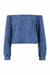 Womens Off Shoulder Ruched Side Acid Wash Sweat Top - blue - 8, Blue