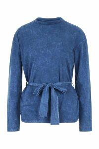 Womens Tie Waist Acid Wash Long Sleeve T-Shirt - blue - 10, Blue