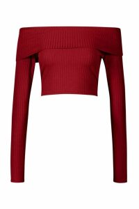 Womens Long Sleeve Jumbo Rib Bardot Crop Top - red - 16, Red