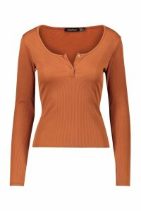 Womens Rib Button Detail Long Sleeve Top - beige - 12, Beige