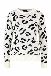 Womens Leopard Knitted Jumper - white - L, White