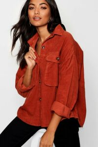 Womens Super Oversize Mock Horn Button Cord Shirt - Orange - 12, Orange