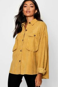 Womens Super Oversize Mock Horn Button Cord Shirt - yellow - 14, Yellow